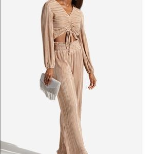 2 piece pleated high pants with ruched top S & L